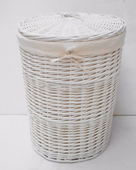 Durable Firm White Wicker And Cane Laundry Basket For Whole