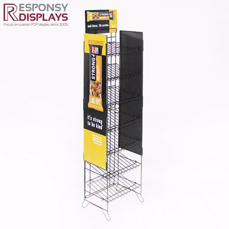 Promotion floor yellow PVC wire display food snack potato chips metal display rack