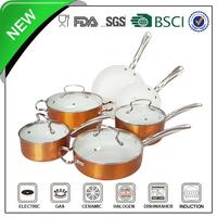 Copper color high quality 10pcs ceramic coating arc cookware