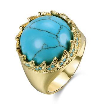 2018 Gorgeous Dubai Gold Plated Men s Big Round Turquoise Stone