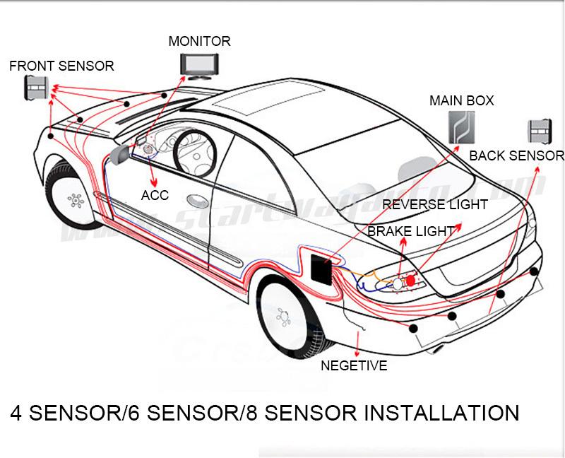 Parktronic 4 Probes Car Rear Parking Sensor 4 System Backup Detector Radar  White Black Silver Golden Grey Yellow Red Blue
