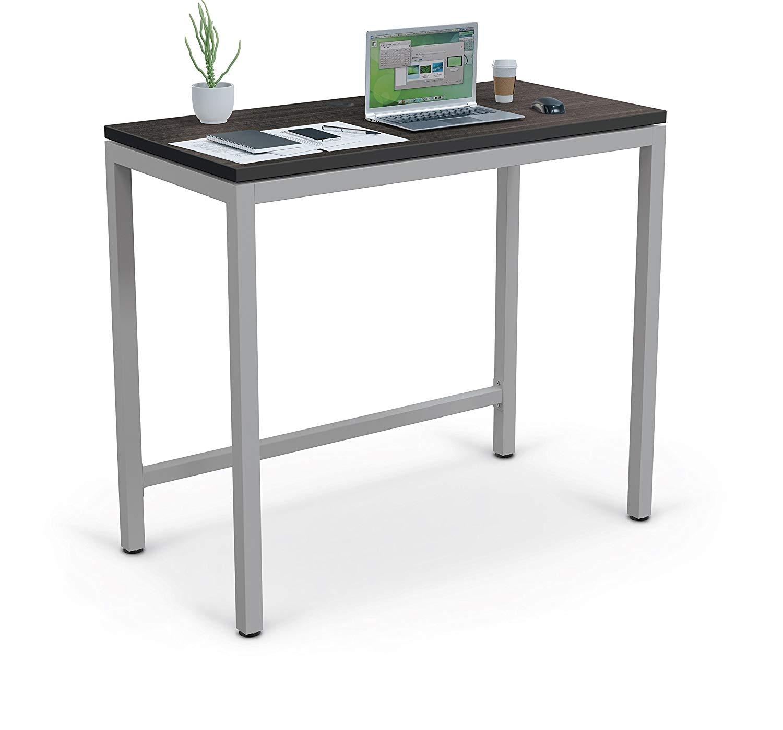 MooreCo Essentials Stand Up Table Desk, Asian Night/Black Edgeband + Platinum Frame (84311)