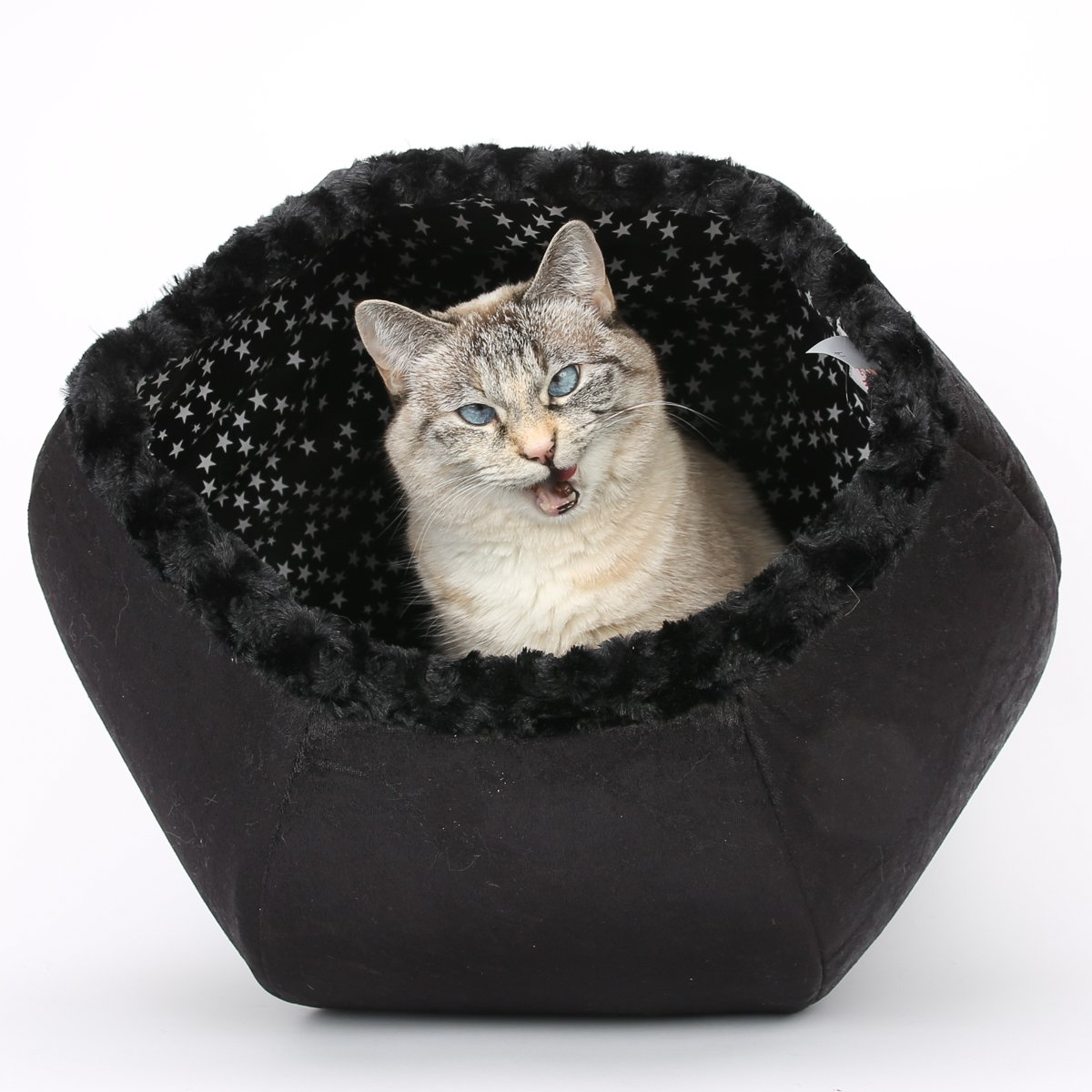 Black Velvet and Fur Cat Ball Cat Bed With Glow in the Dark Stars Lining Fabric