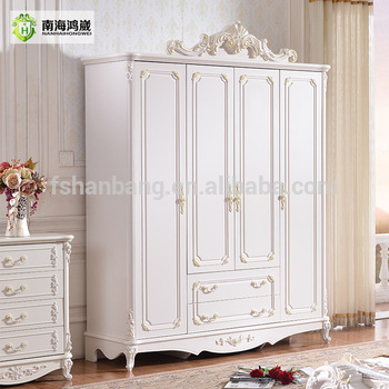 White Carved Large French Style Wooden Panel 4, 5, 6 Door Bedroom Furniture  Wardrobe