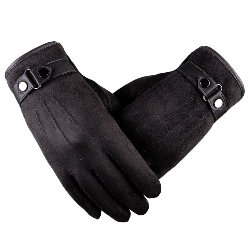 Apparel Accessories Winter Gloves For Men Pattern Leather Side Buckle Gloves Mens Winter Motorcycle Ski Gloves Guantes Invierno Hombre