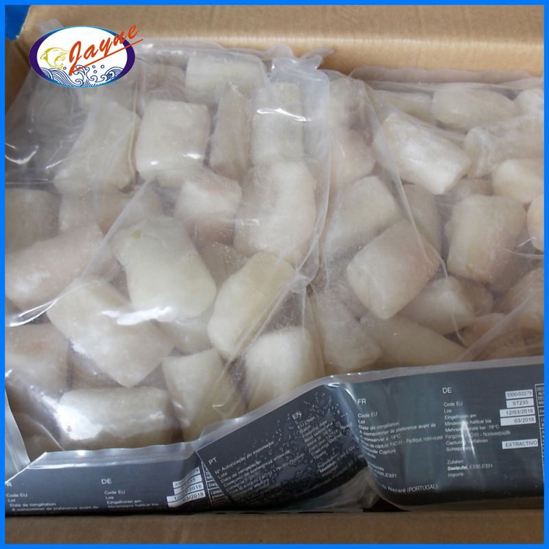 Fresh frozen fish product monkfish cube with 5 x 3 cm size