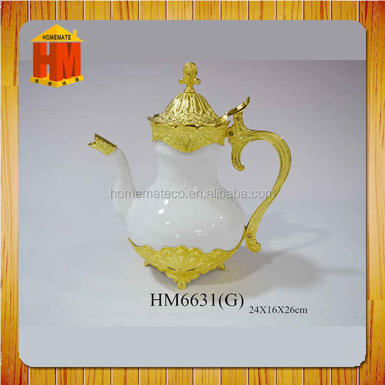 high class porcelin alloy 4pcs tea set with tea pot and sugar pot and creamer Saudi Arabia / Muslim favor/cawa cup/ ramadan gift
