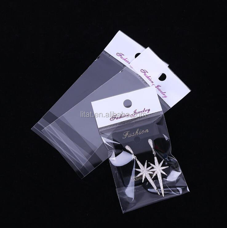 40 microns Customized Transparent OPP seal adhesive accessories plastic bag with header, OPP P&S Plastic bag
