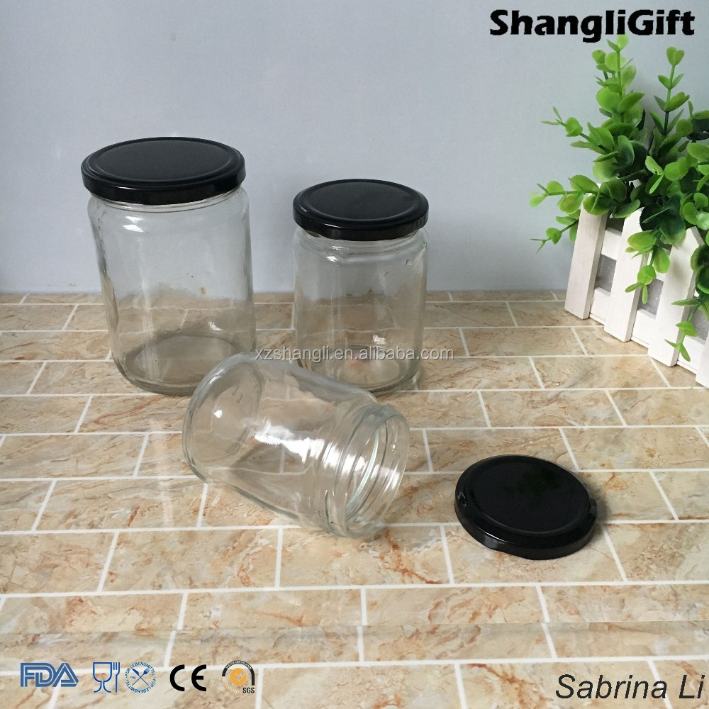 200ml 350ml 500ml round canning honey glass jar with metal lid