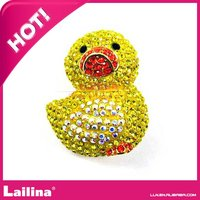 Butler and Wilson Gold Crystal Yellow Duck Brooch