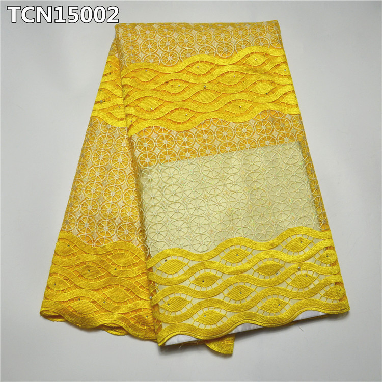 Yellow French lace fabric with bead and stone net lace for parties dress TCN150 01~03
