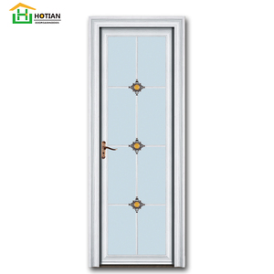 Chinese Knot Pattern Glass Door Light Green Aluminum Bathroom Door Famous Design Single Door