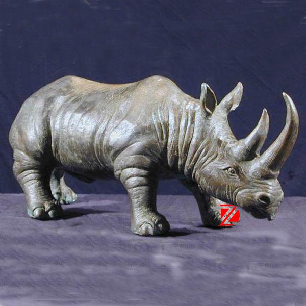 Hand Carved Stone Rhino Sculpture Marble Rhino Statue