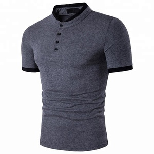 China Factory Custom Polo Shirt 100% Cotton,Stand Collar Plain Men's T-shirts With Your Logo
