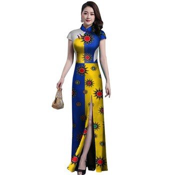 Unique Chinese Cheongsam Bazin Riche African Print Lace Dresses for Women Custom Clothing Sexy Straight Side Split Dress WY2863