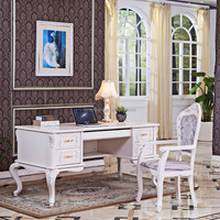 French Baroque Style Executive Office Desk in white and Gold or silver
