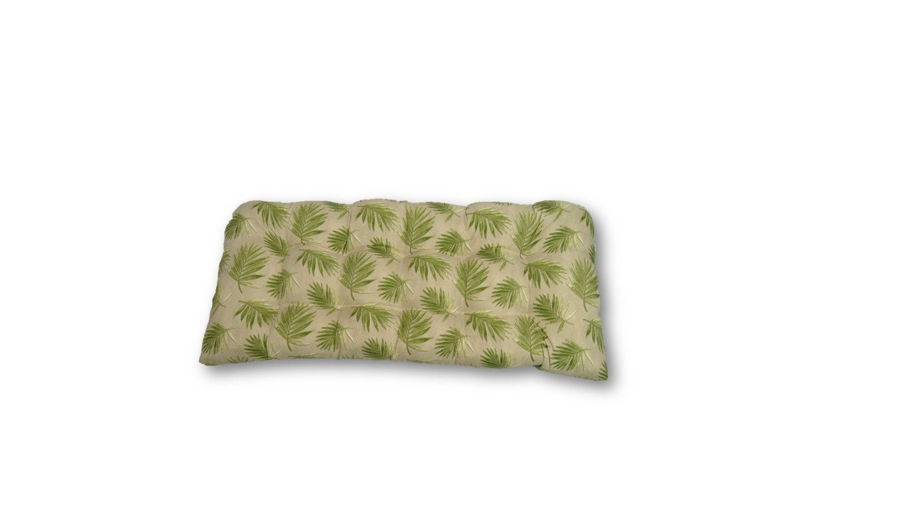 Indoor / Outdoor Tufted Cushion for Wicker Loveseat Settee - Tropical Palm Leaf~Tan and Green