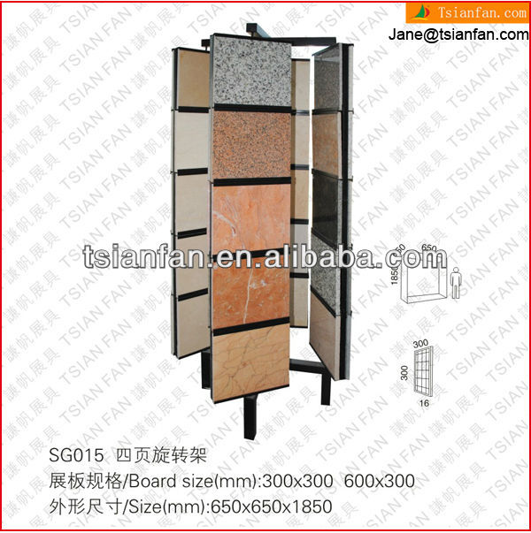 SG015 China Supply Showroon Stands Linear Slab Stone Display Rack