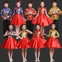 Chinese Traditional Red Color Children Girls Cheongsam princess Dress