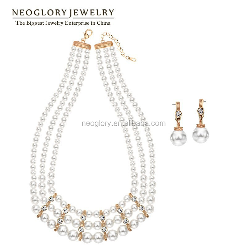 Direct Factory Neoglory Auden Rhinestone Simulated Pearl Rose Gold Plated Fashion Women Jewellery Set For Wholesale