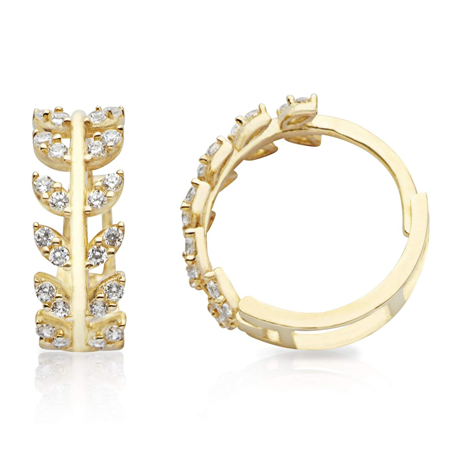 Get Quotations New 14k Yellow Gold Huggie Hoop Earrings With Branch And Leaves Design For Women S