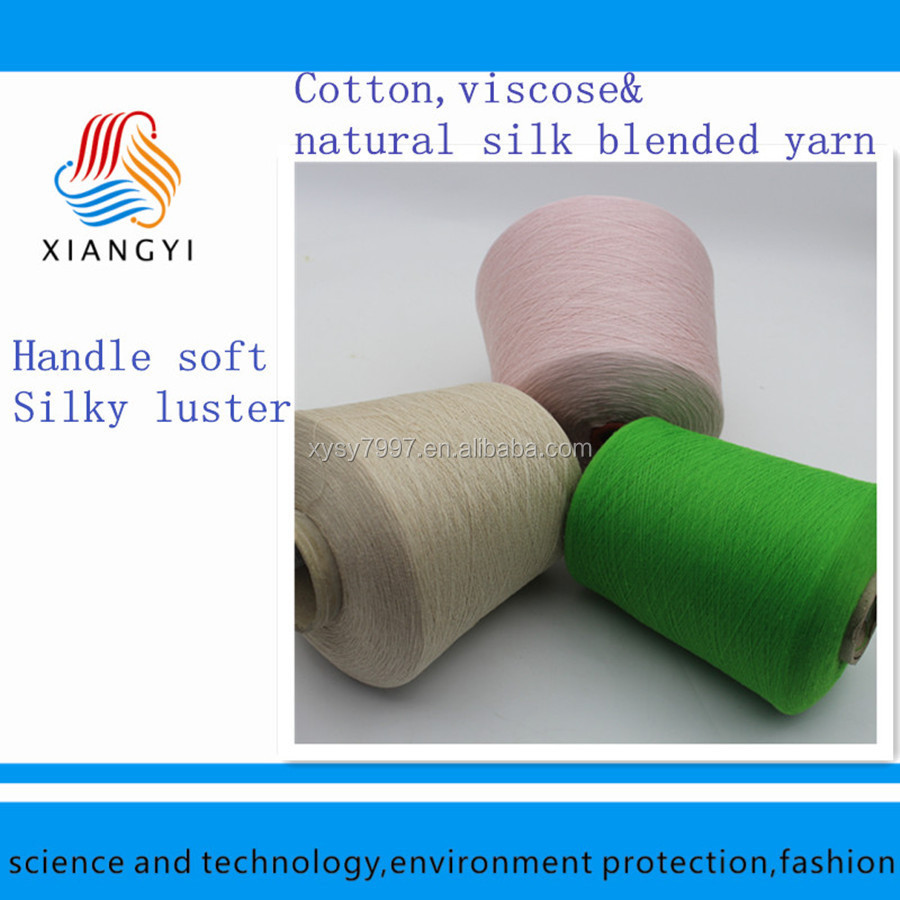 Silk/viscose/cotton blended yarn