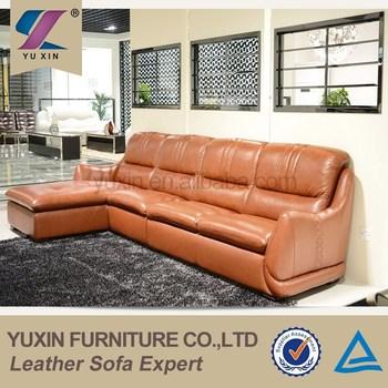 Top Grain Cheers Leather Sofa Furniture Orange Pvc