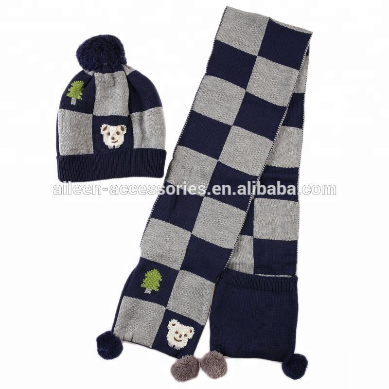 a14d23fc1513 wholesale kids children boy knit hat beanie scarf set