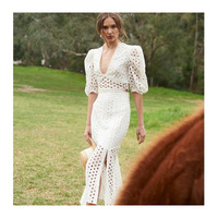 2019 Latest fashion holes embroidery suit ladies cotton lace top and skirt fish tail two pieces set women casual dresses