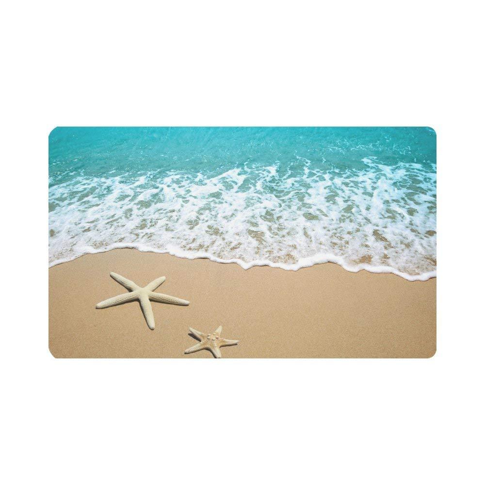 """InterestPrint Starfish On Beach Sand Indoor Outdoor Entrance Rug Floor Mats Shoe Scraper Doormat Non-Slip Home Decor, Rubber Backing 30""""(L) x 18""""(W)"""