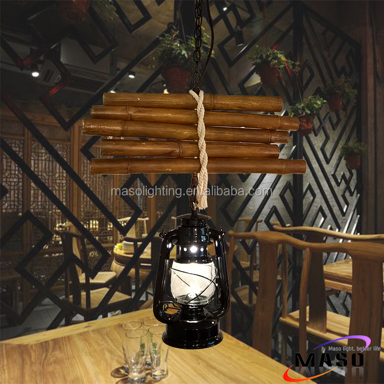 Retro industrial single head resin pendant lighting Vintage Decorative Bamboo shape Hanging Lamp Made in China