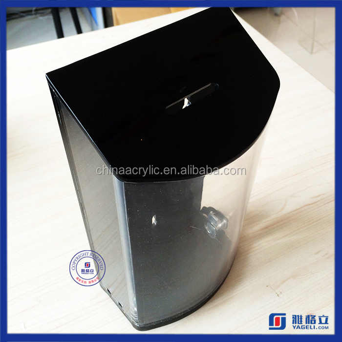 Yageli black and clear tall collectible acrylic charity box manufacturer