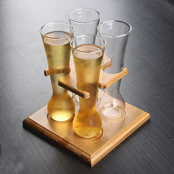 Handmade Borosilicate Beer Yard Glass Set ( 4 pcs yard glass and 1 pc stand)