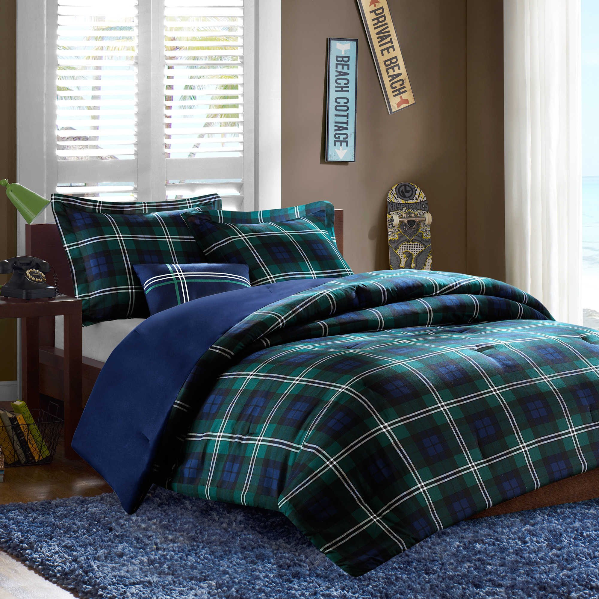 Brody Men's Plaid Blue Green Prints Boys Bedding TWIN/TWIN XL Comforter (3 Piece in a Bag)