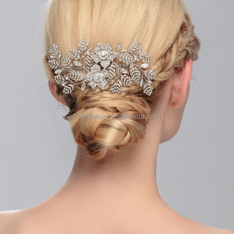 luxury noble fair lady rhinestone hair jewelry accesory romantic handmade unique rose bride hair combs party hair jewelry