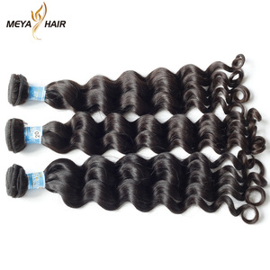 Meya factory wholesale full cuticle aligned mongolian human hair weft