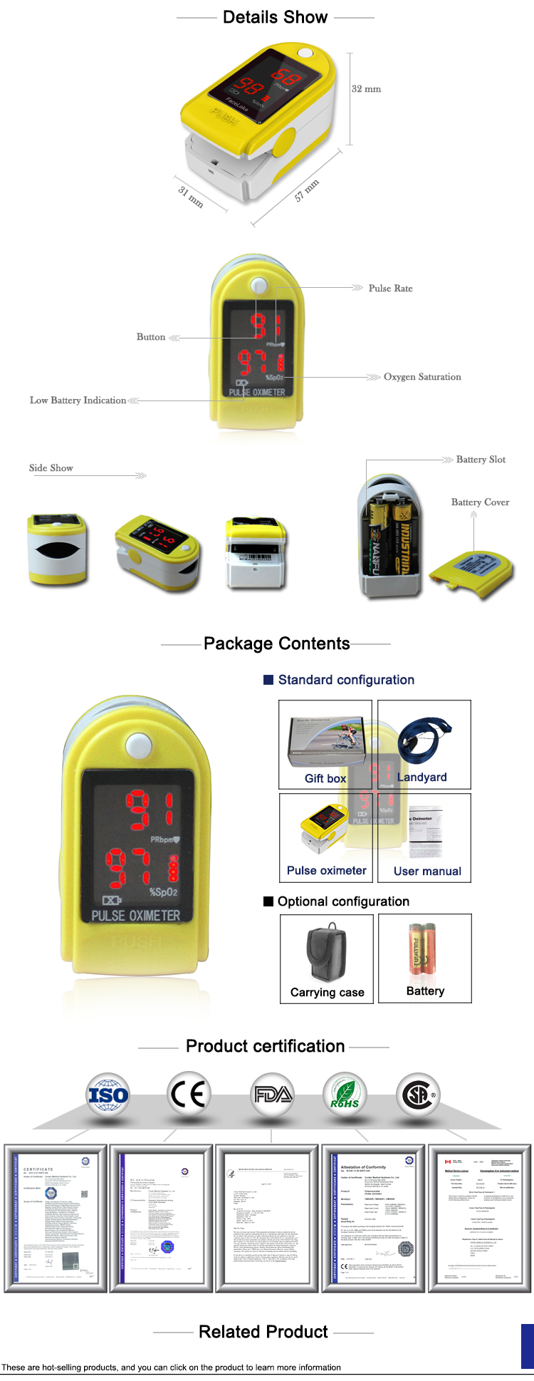 Ready to ship CONTEC CMS50DL China Manufacturer digital finger oximeter pulse oximeter