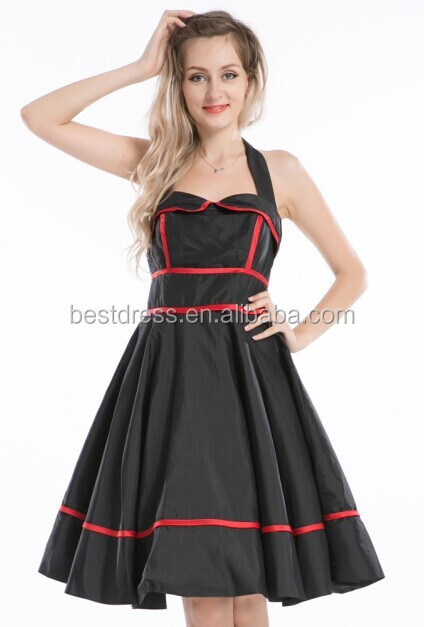 Instyles 2015 Black Halter Dress Swing 50's pinup Vintage Jive Rockabilly Punk Tulle S-6XL