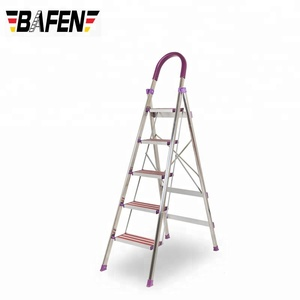 5 steps folding stainless steel foldable scaffold ladder, stainless steel household step ladder made in china
