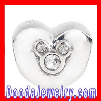 2015 Spring Mickey Charm with Austrian Crystal Heart Silver Beads