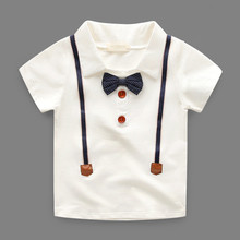 Online Shopping Baby Boy's White Cotton T-shirt Comfortable Polo T-shirt With Bow Tie