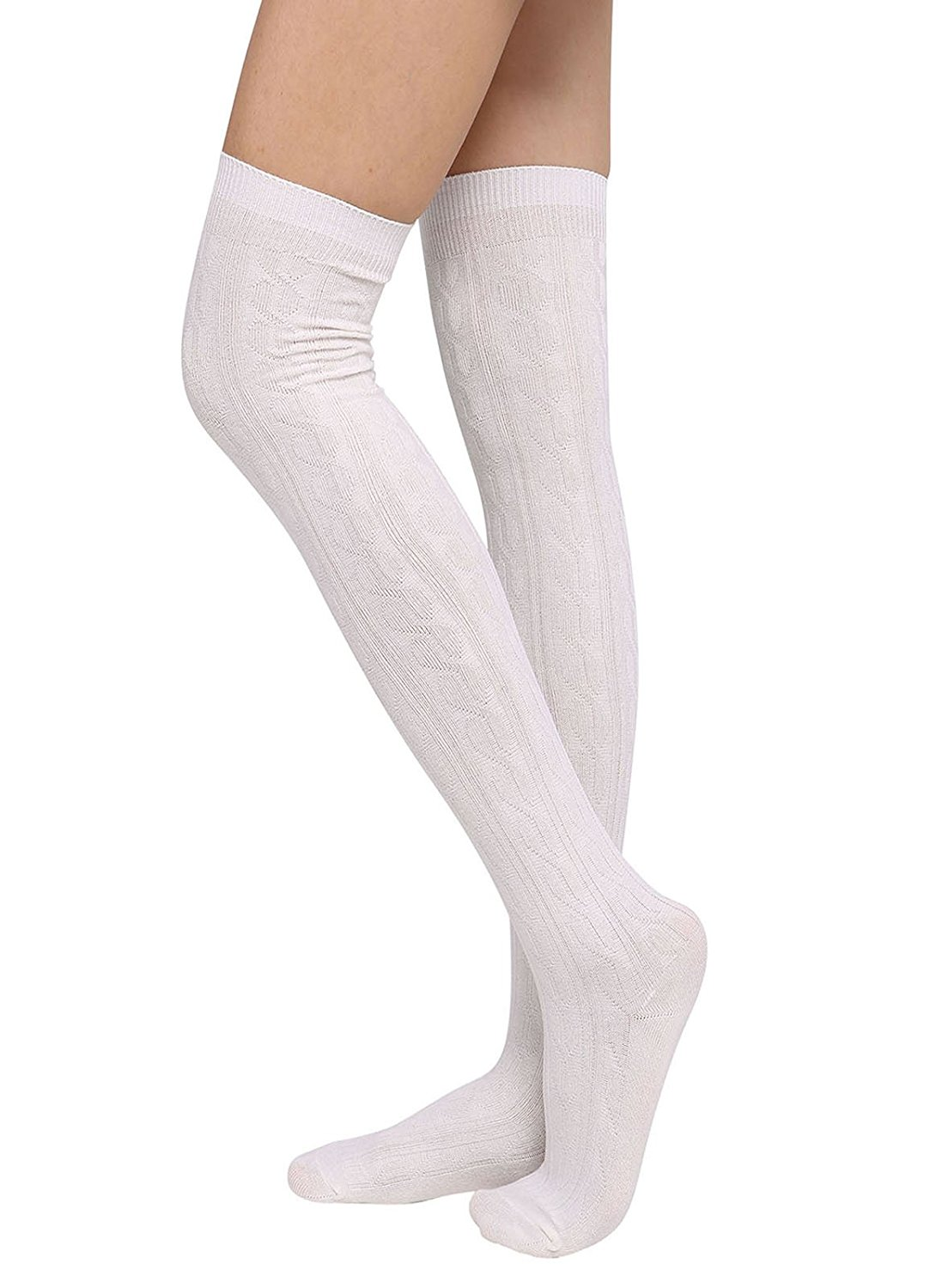 3373a5ce4 Get Quotations · Womens Winter Cable Knit Over Knee High Tigh High Socks  1-3 Pairs