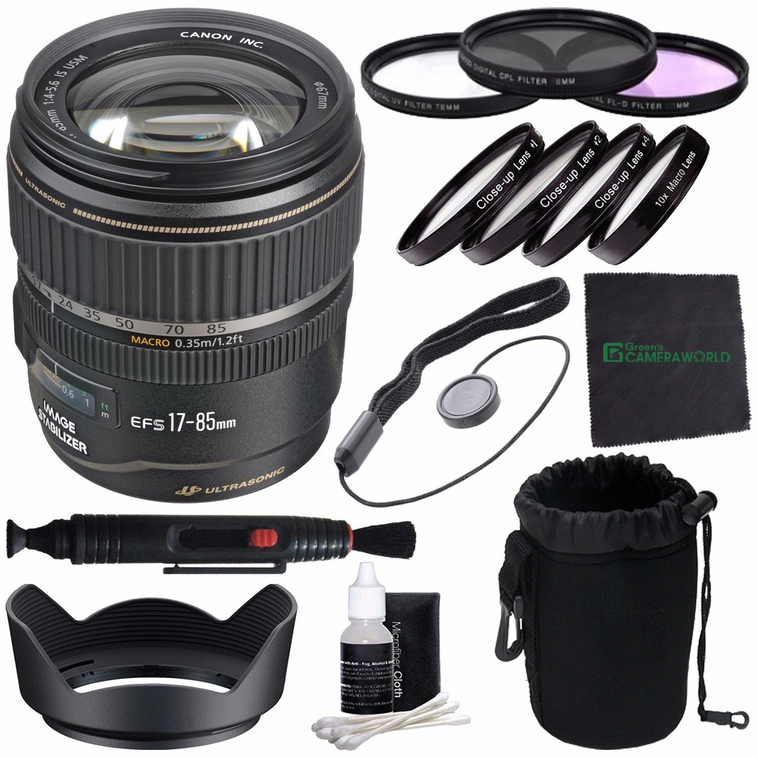Canon EF-S 17-85mm f/4-5.6 IS USM Lens + 67mm 3 Piece Filter Set (UV, CPL, FL) + 67mm +1 +2 +4 +10 Close-Up Macro Filter Set with Pouch + Pouch + Lens Cleaning Pen + Lens Hood + Cleaning Cloth Bundle