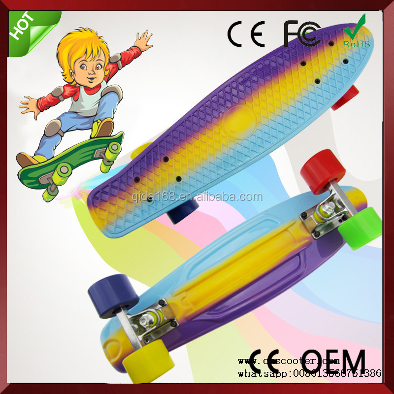 plastic professional skateboard with fade color
