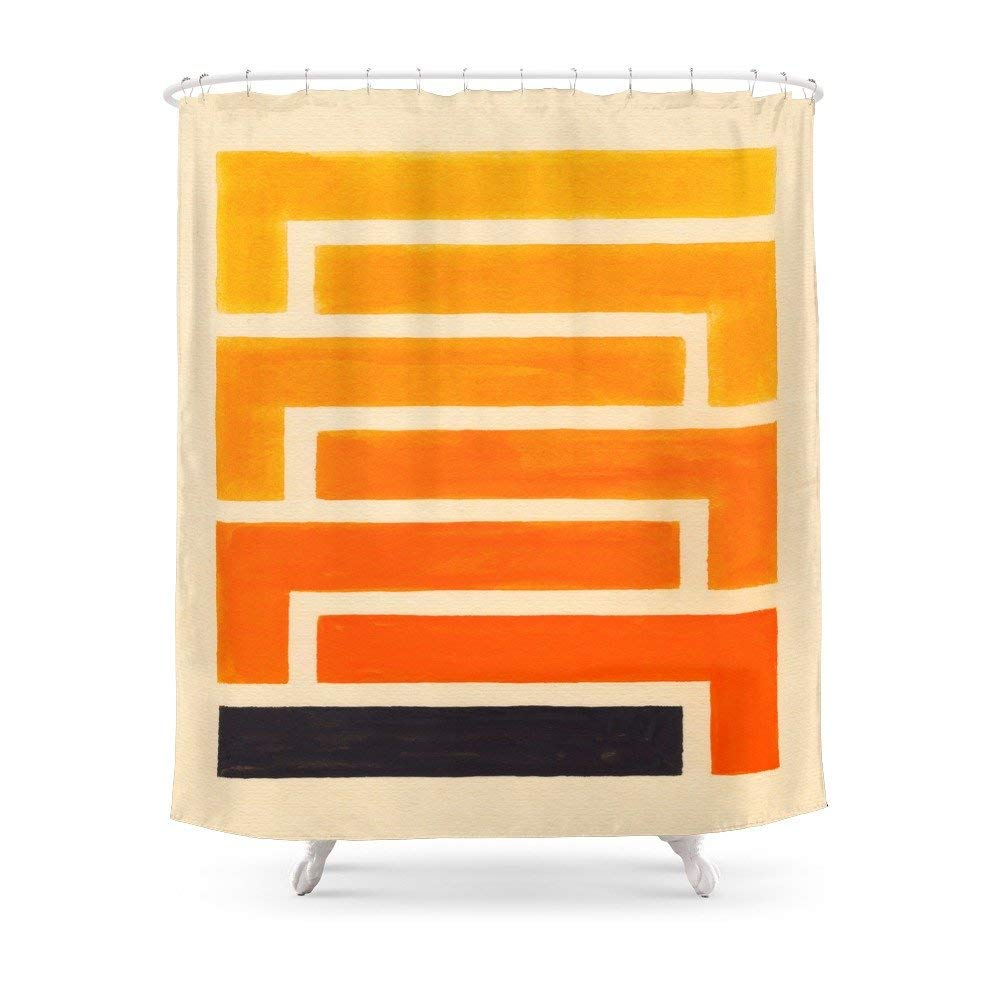 Get Quotations Society6 Orange Black Geometric Pattern Shower Curtain 71