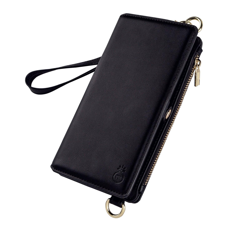 iPhone 7 Plus 8 Plus Wallet Case, iDamtok Womens PU Leather Magnetic Detachable Phone Cover Flip Folio Case Multi-functional Zipper Money Purse Mini Crossbody Shoulder Bag Clutch