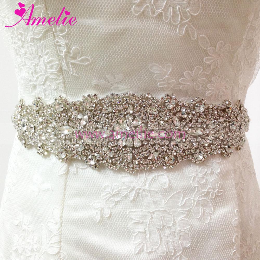 Crystal And Rhinestone Beaded Bridal Dress Belt And Sashes Wedding ...