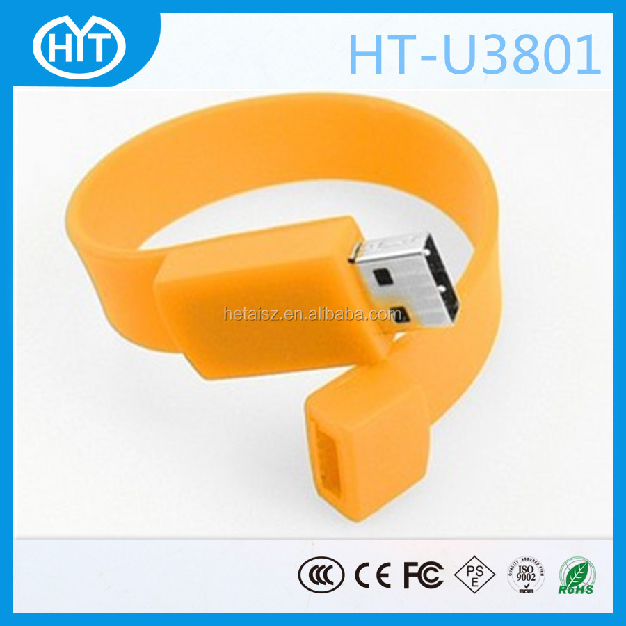Manufactory Directly Provide high quality custom silicone bracelet usb2.0 flash drive with silkscreen logo as advertising gift