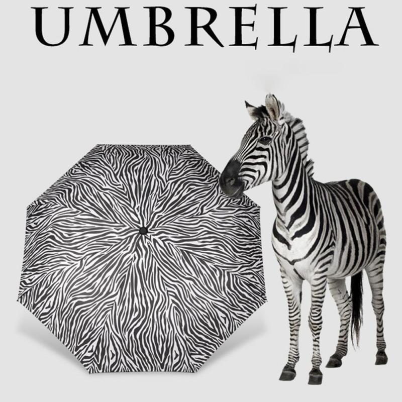 zebra patterns folding beach umbrella black coating parasol UV sunny rainy  proteccion solar umbrella rain women  35 e51e5f8f13c1