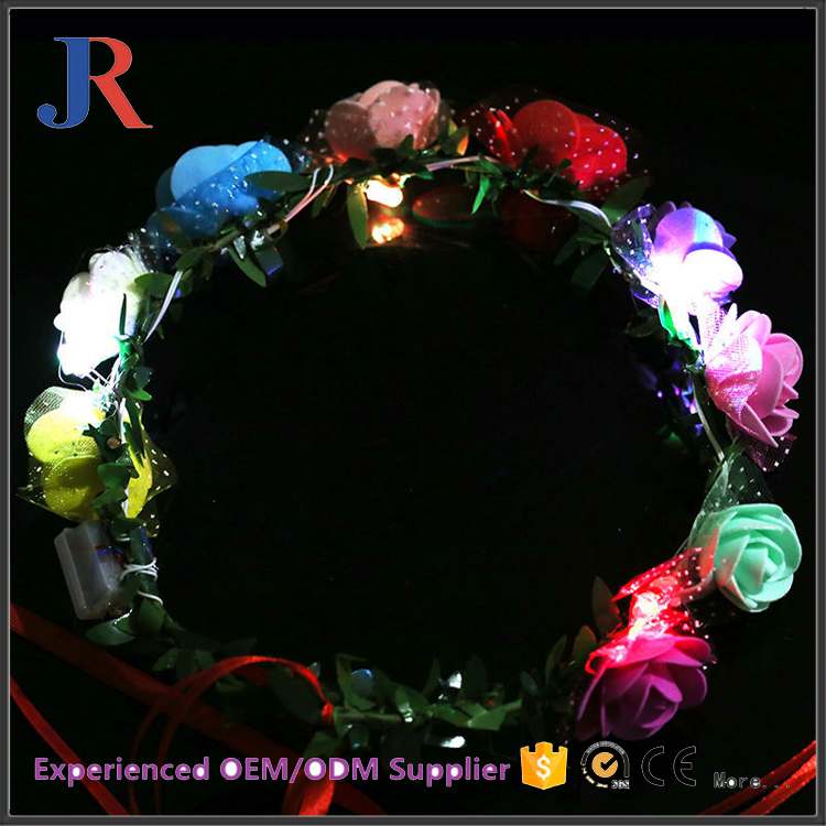 jiangrun wholesale custom PVC artificial paper flower garland with LED light